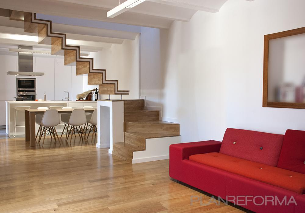 Comedor, Cocina, Salon Estilo moderno Color rojo, marron, blanco, gris  diseñado por Javier Matoses | Arquitecto | Copyright mixuro