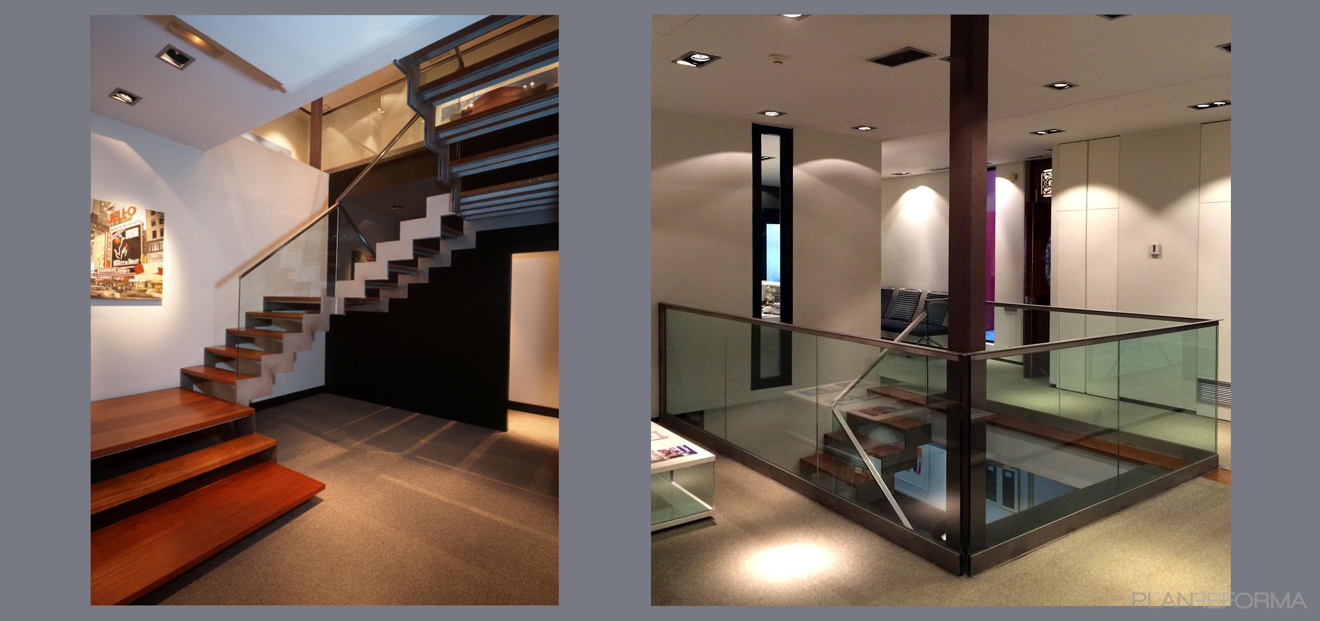 Recibidor escalera oficina style moderno color ocre - Recibidor moderno blanco ...