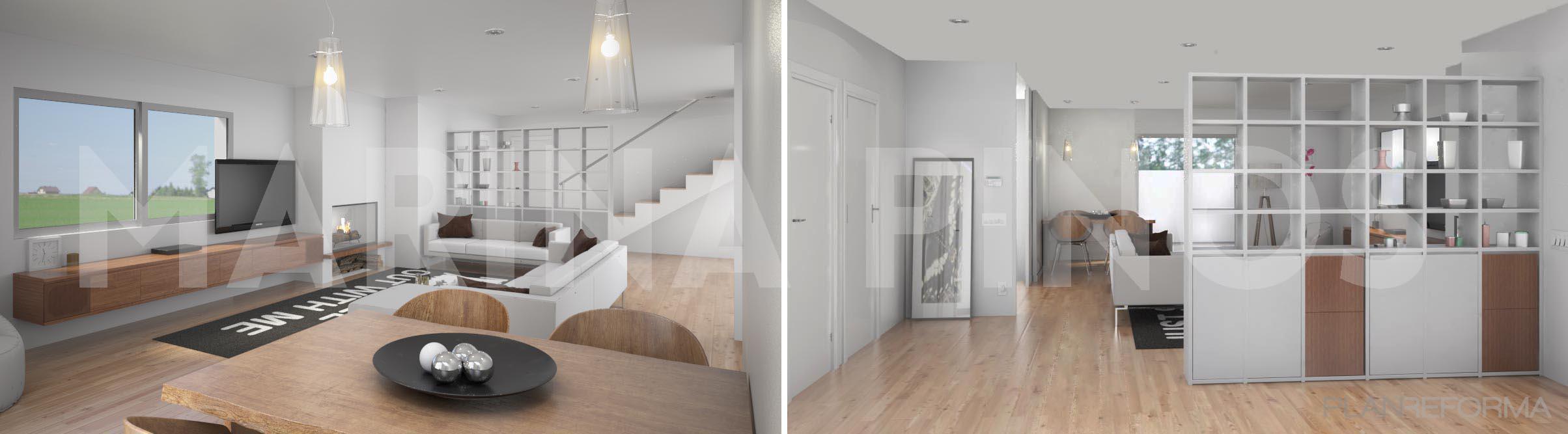 Comedor sala de la tv escalera estilo moderno color for Comedor gris moderno