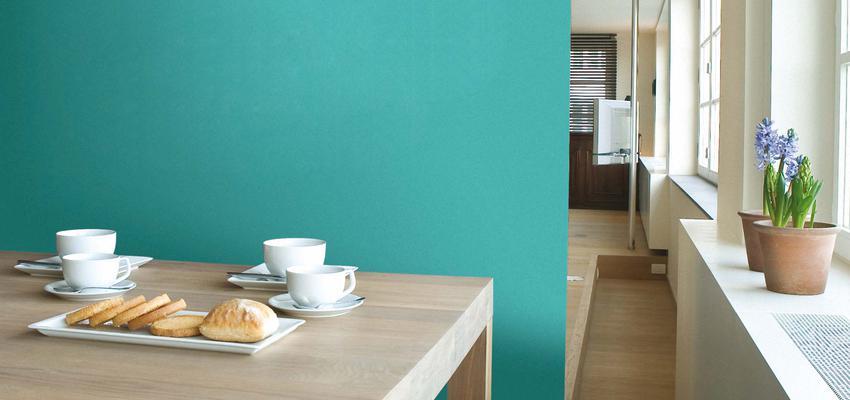 Salon style contemporaneo color turquesa, marron, blanco  diseñado por Valentine | Marca colaboradora | Copyright Royalty Free