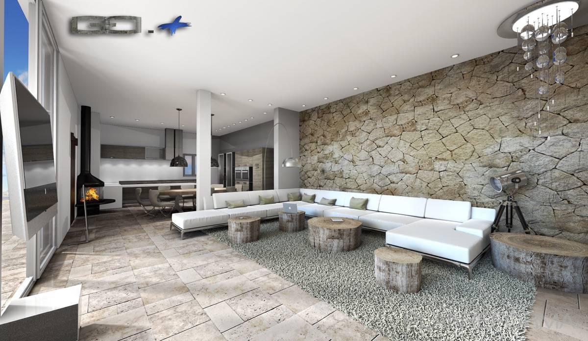 Cocina salon style moderno color beige marron blanco negro for Salon cocina moderno