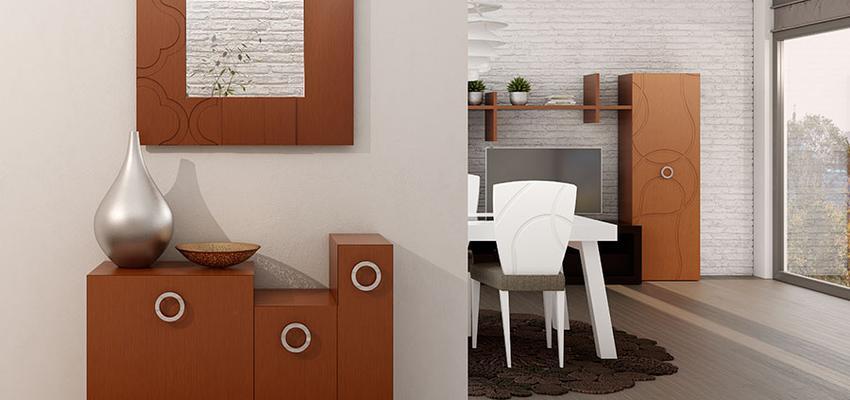 Vestibulo, Salon style contemporaneo color marron, beige, marron, blanco  diseñado por MUEBLES UTRILLA MOBILIARIO | Marca colaboradora | Copyright Utrilla Mobiliario