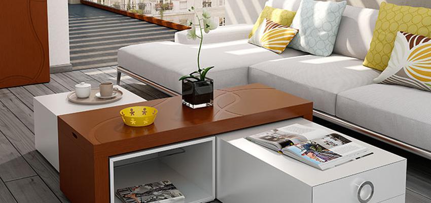 Sala de la TV style contemporaneo color amarillo, azul cielo, marron, marron, blanco  diseñado por MUEBLES UTRILLA MOBILIARIO   Marca colaboradora   Copyright Utrilla Mobiliario