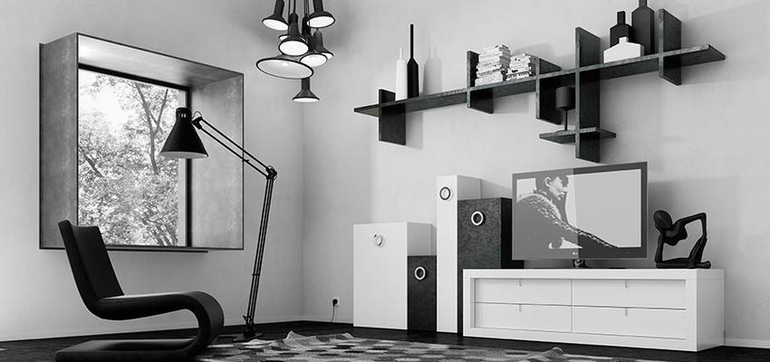 Salon Estilo contemporaneo Color blanco, negro  diseñado por MUEBLES UTRILLA MOBILIARIO | Marca colaboradora | Copyright Utrilla Mobiliario