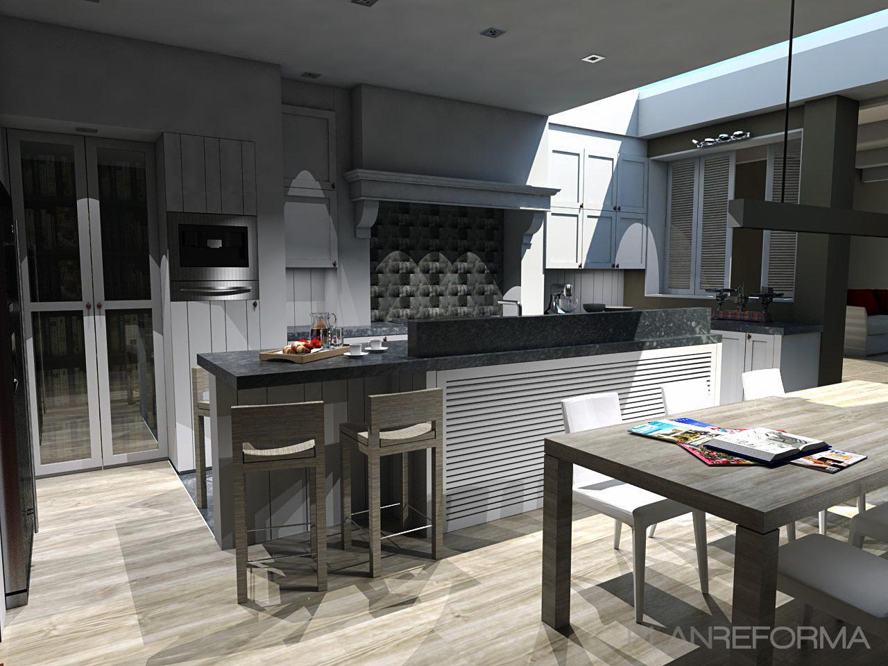 Comedor cocina style rustico color marron gris negro for Cocina comedor rustico