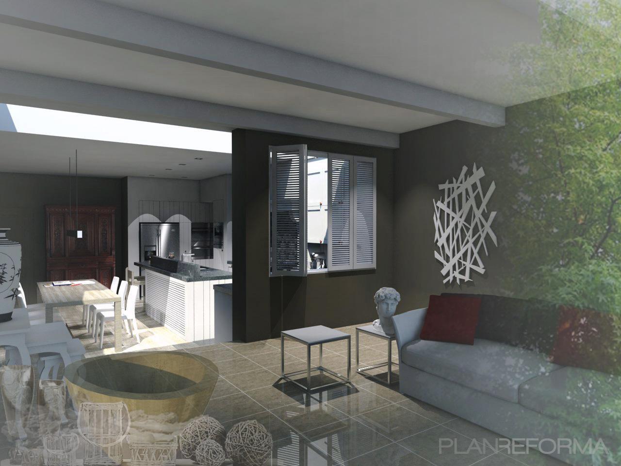 Comedor cocina salon style rustico color marron gris negro - Cocina salon comedor ...