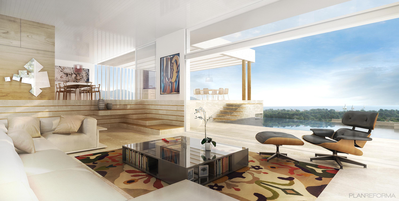 Salon style moderno color marron azul cielo marron - Salon moderno blanco ...