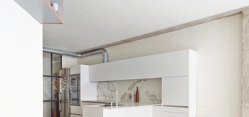 Comedor, Cocina Estilo contemporaneo Color marron, blanco, gris  diseñado por Raúl Sánchez Architects | Arquitecto | Copyright Jose Hevia