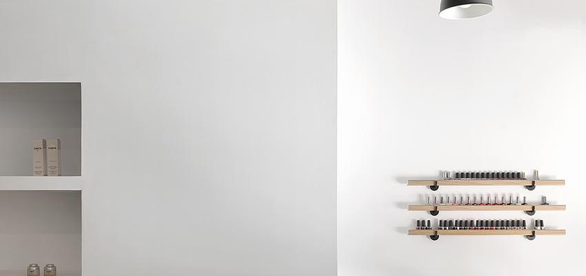 Salón de belleza Estilo contemporaneo Color beige, marron, blanco  diseñado por PIANO PIANO STUDIO | Arquitecto | Copyright Milena Villalba