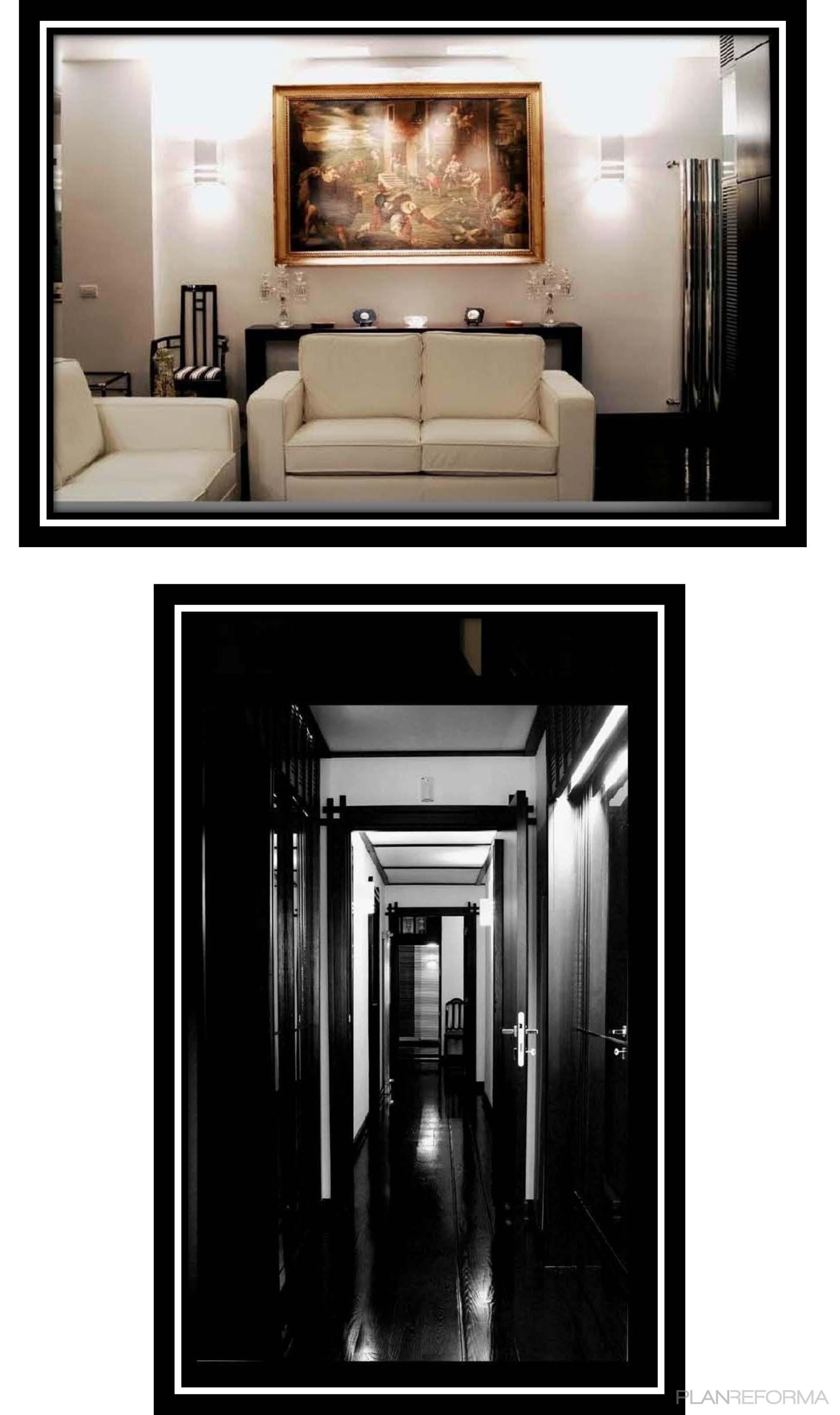 Recibidor salon estilo moderno color beige blanco negro - Recibidor moderno blanco ...