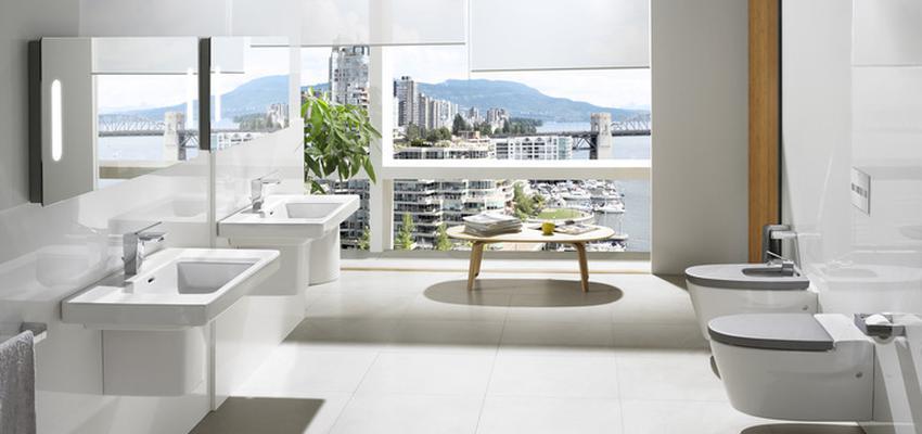 Baño style contemporaneo color blanco, gris  diseñado por ROCA  | Marca colaboradora | Copyright ROCA