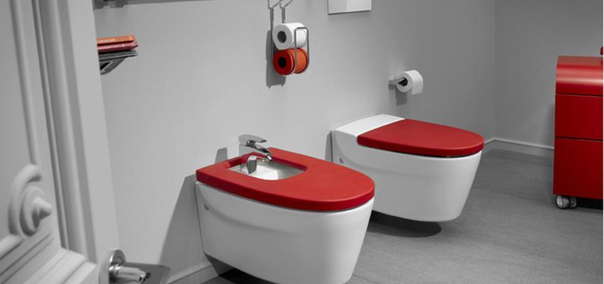 Baño Estilo vintage Color rojo, blanco, gris  diseñado por ROCA    Marca colaboradora   Copyright ROCA