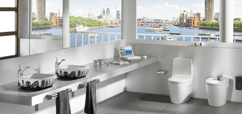 Baño style moderno color blanco, gris, negro  diseñado por ROCA  | Marca colaboradora | Copyright ROCA