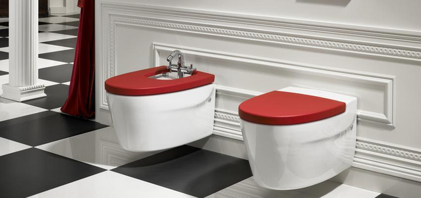 Baño style moderno color rojo, blanco, negro  diseñado por ROCA  | Marca colaboradora | Copyright ROCA