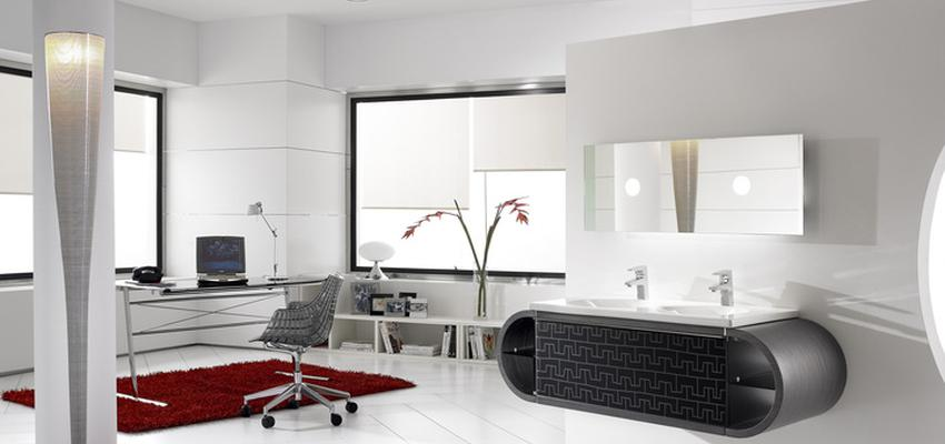 Baño style moderno color blanco, negro  diseñado por ROCA    Marca colaboradora   Copyright ROCA