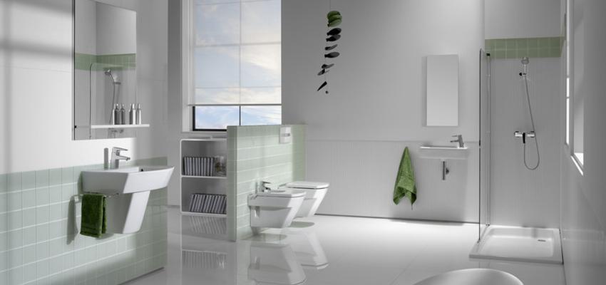 Baño Estilo moderno Color verde, blanco  diseñado por ROCA    Marca colaboradora   Copyright ROCA