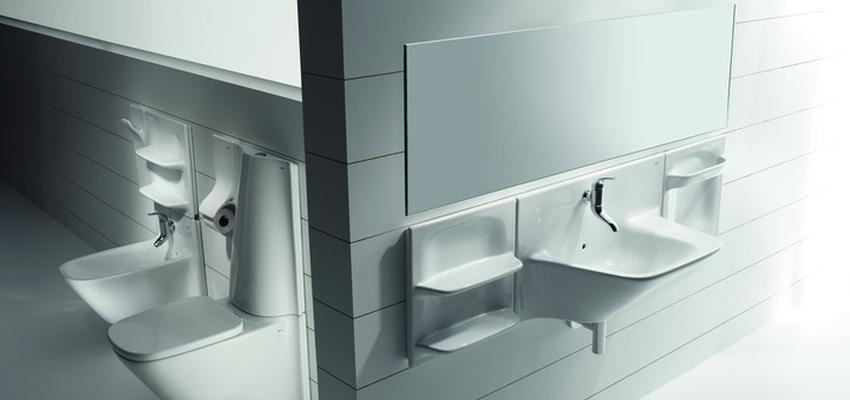 Baño style vanguardista color blanco, gris  diseñado por ROCA  | Marca colaboradora | Copyright ROCA