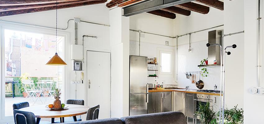 Comedor, Cocina, Loft Estilo moderno Color marron, marron, blanco, gris  diseñado por mcd/studio | Arquitecto | Copyright soy propietario de la imagen