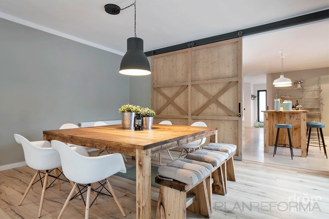 Comedor cocina salon style rustico color marron beige for Comedor gris y blanco