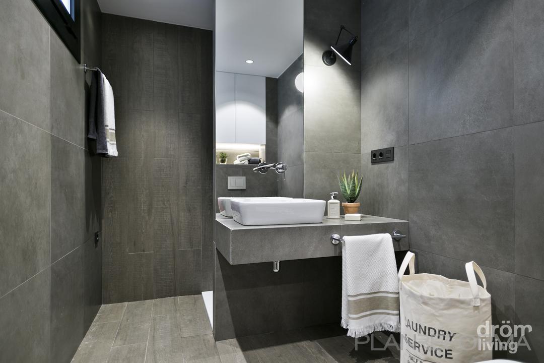 Ba o estilo moderno color blanco gris gris for Estilos de banos modernos