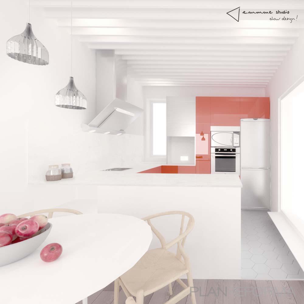 Comedor cocina style vintage color rojo marron blanco gris for Comedor vintage blanco