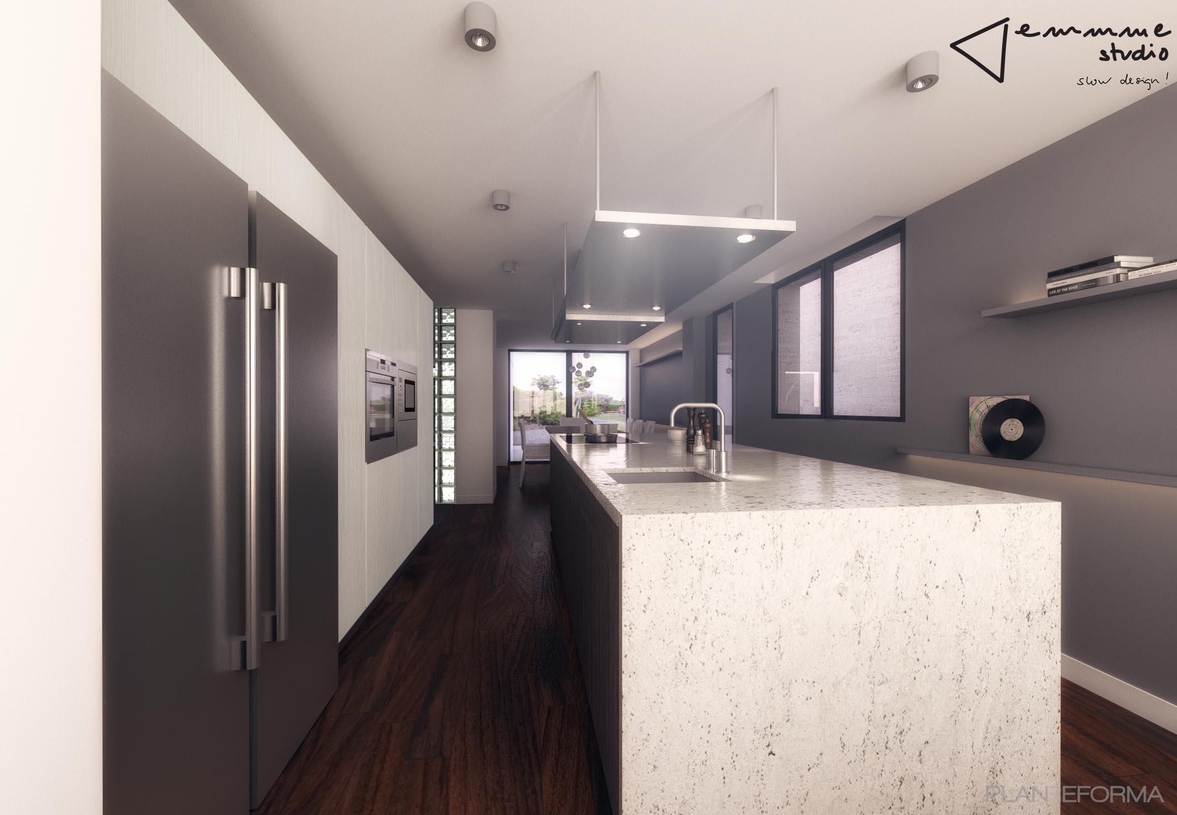 Comedor, Cocina Estilo moderno Color blanco, gris, gris  diseñado por emmme studio   Arquitecto   Copyright emmme studio