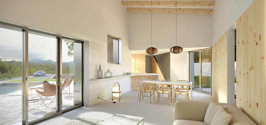 Comedor, Salon, Escalera Estilo moderno Color blanco, gris  diseñado por Albert Brito. Arquitectura | Arquitecto | Copyright Imagen propiedad de AlbertBrito Arquitectura.