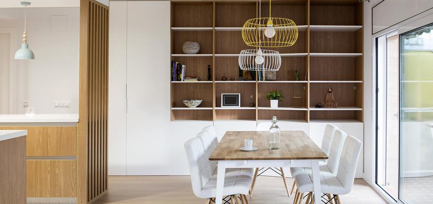 Comedor, Cocina, Salon Estilo moderno Color amarillo, verde, blanco  diseñado por Albert Brito. Arquitectura | Arquitecto | Copyright Flavio Coddou