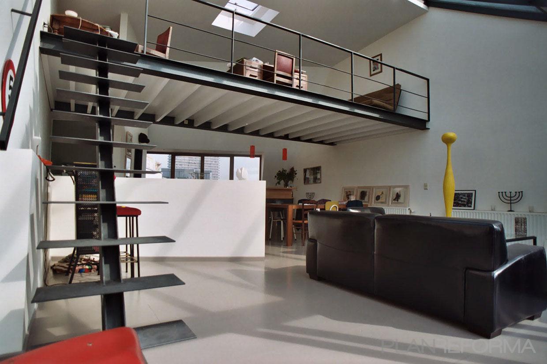 Comedor, Cocina, Salon, Loft Estilo contemporaneo Color rojo, blanco, gris, negro  diseñado por ONYON huerto creativo   Arquitecto   Copyright ONYON huerto creativo