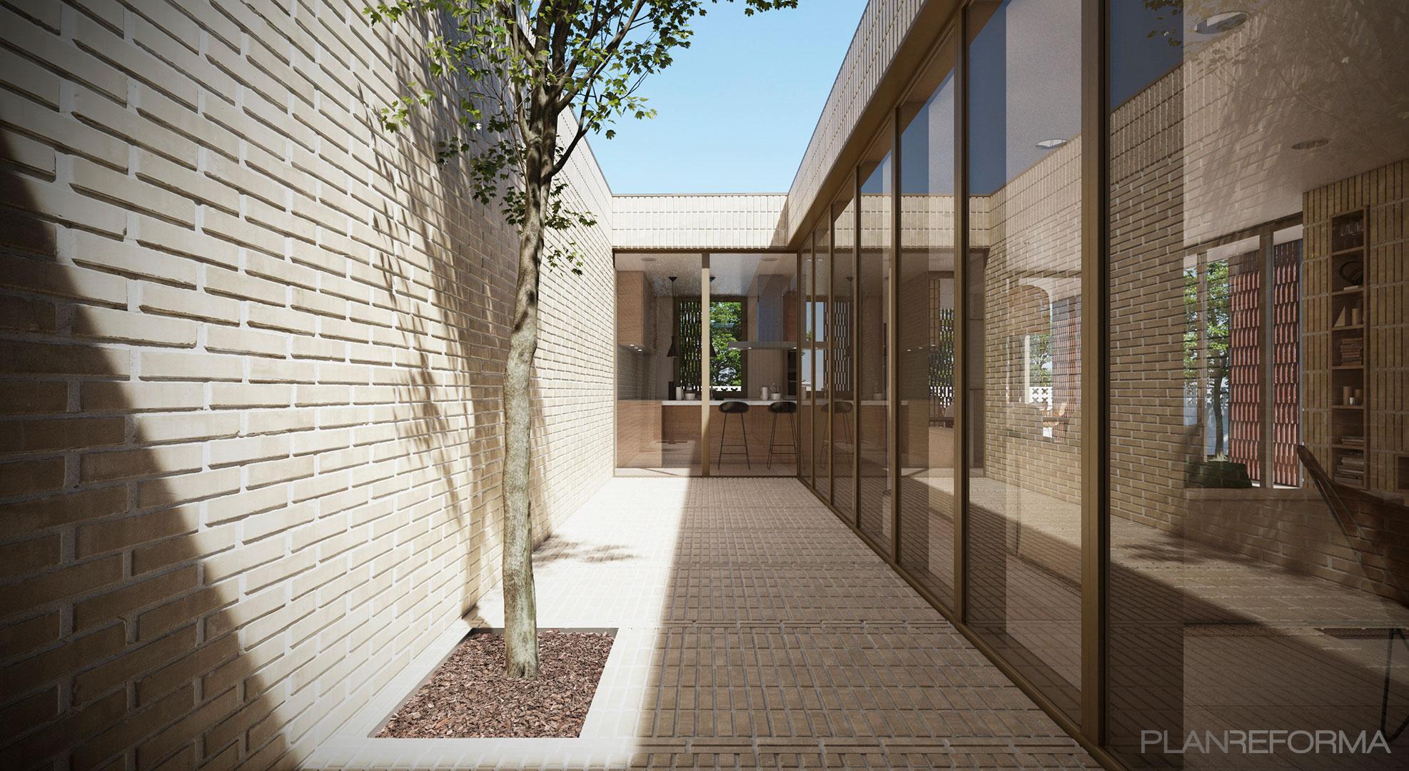 Terraza, Patio, Exterior Estilo mediterraneo Color beige, marron, beige  diseñado por Fuster+ | Arquitecto | Copyright Fuster+