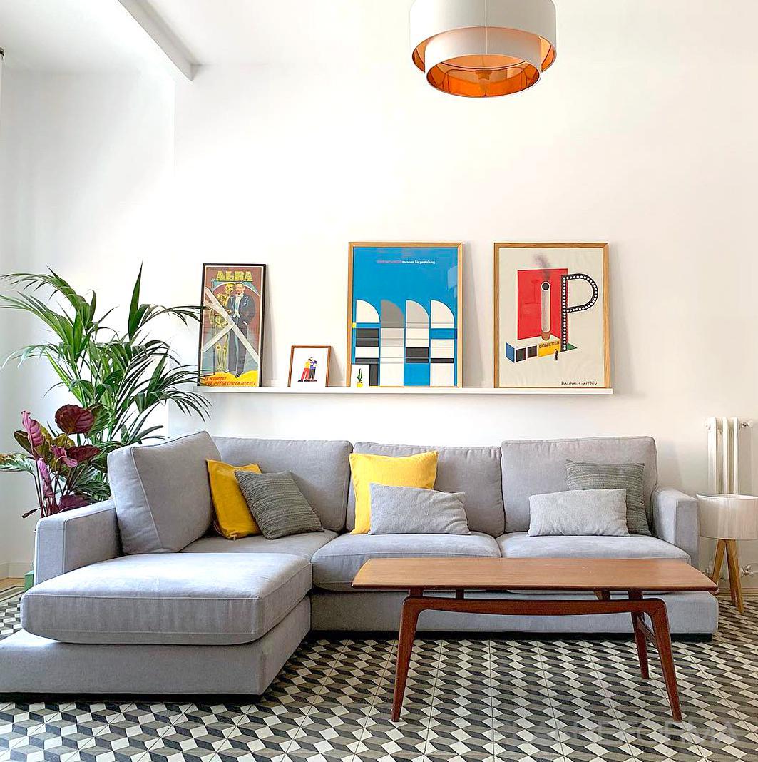 Salon Estilo vintage Color blanco, gris, gris, dorado  diseñado por Emma Sánchez Miranda Interiorismo | Interiorista | Copyright Emma Sánchez Miranda