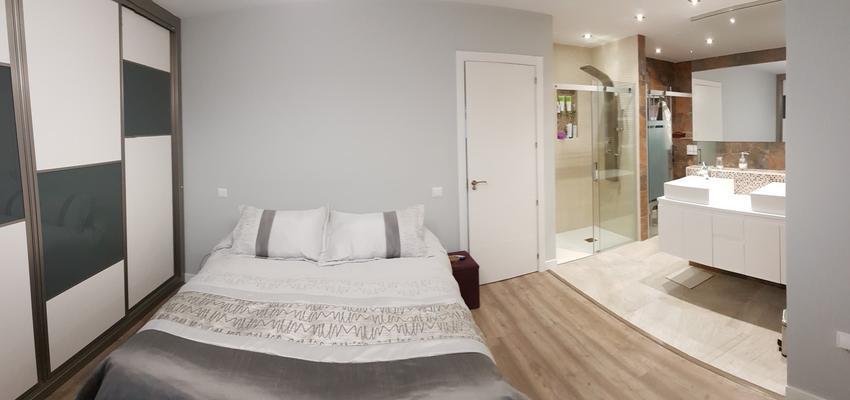 Baño, Dormitorio Estilo contemporaneo Color beige, blanco  diseñado por ViviendaSana | Gremio | Copyright Vivienda Sana
