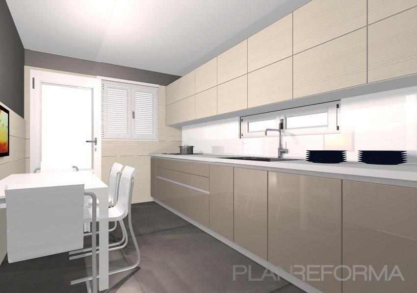 Comedor cocina style contemporaneo color beige blanco gris for Cocinas modernas color blanco