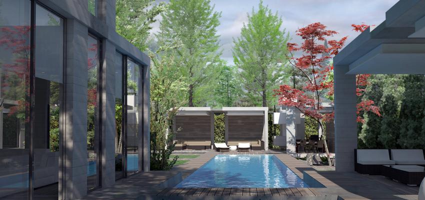 Terraza, Piscina, Jardin Estilo moderno Color verde  diseñado por UP PROYECTOS Y CONSTRUCCIONES | Gremio | Copyright UP PROYECTOS Y CONSTRUCCIONES