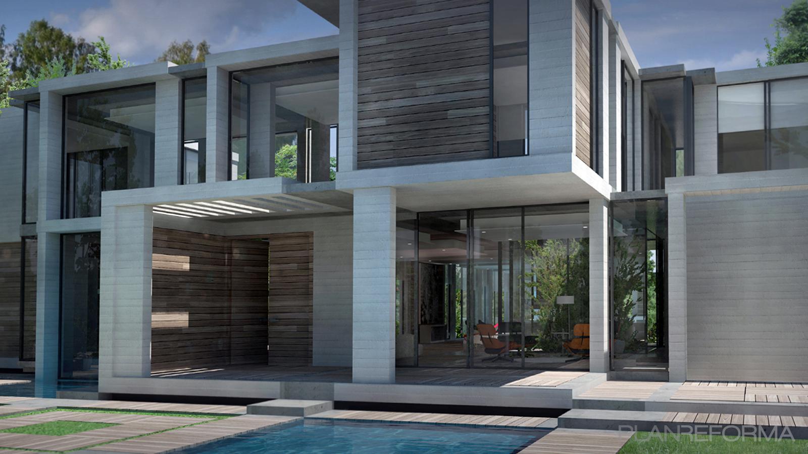 Piscina, Exterior, Jardin Estilo moderno Color gris  diseñado por UP PROYECTOS Y CONSTRUCCIONES | Gremio | Copyright UP PROYECTOS Y CONSTRUCCIONES