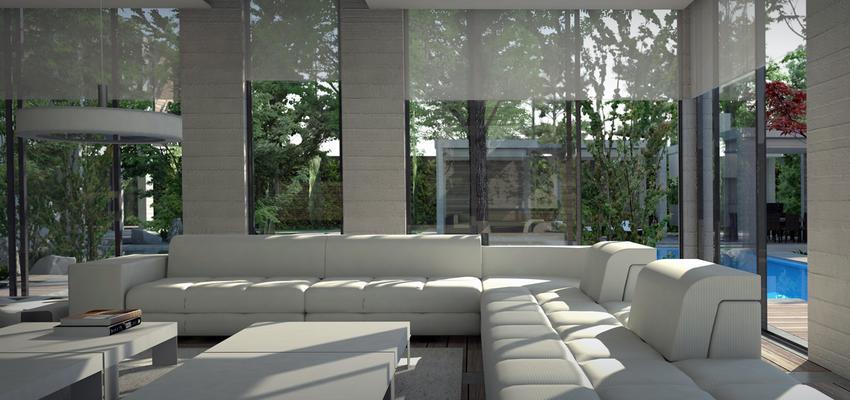 Salon, Piscina Estilo moderno Color gris  diseñado por UP PROYECTOS Y CONSTRUCCIONES | Gremio | Copyright UP PROYECTOS Y CONSTRUCCIONES
