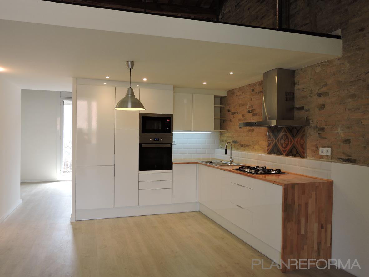 Comedor cocina loft estilo contemporaneo color marron for Altura barra cocina