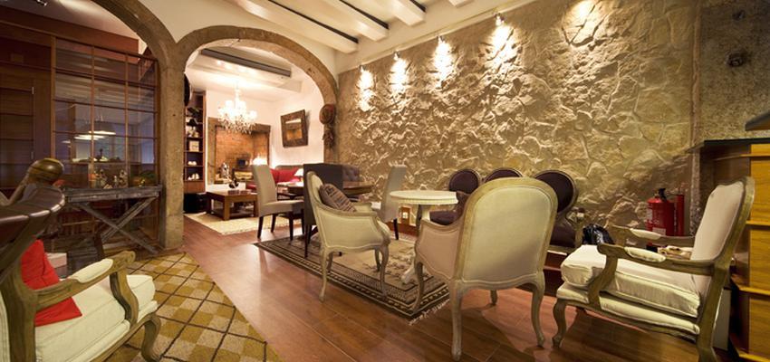 Cafeteria style rustico color beige, marron, blanco  diseñado por aparici | Marca colaboradora | Copyright Aparici