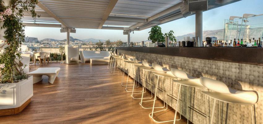 Terraza, Restaurante style contemporaneo color beige, marron, marron, blanco  diseñado por aparici | Marca colaboradora | Copyright Aparici