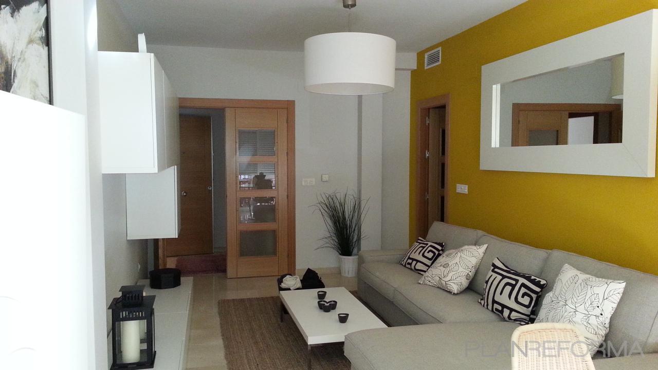 Salon style moderno color amarillo blanco gris - Salon moderno blanco ...