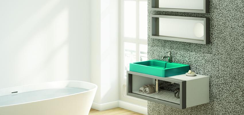 Baño Estilo contemporaneo Color verde, blanco, gris  diseñado por Boing | Marca colaboradora