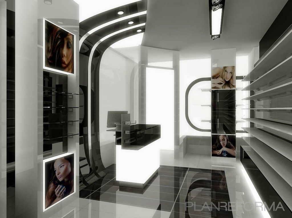 Tienda sal n de belleza style moderno color gris gris negro - Interiorismo salones modernos ...