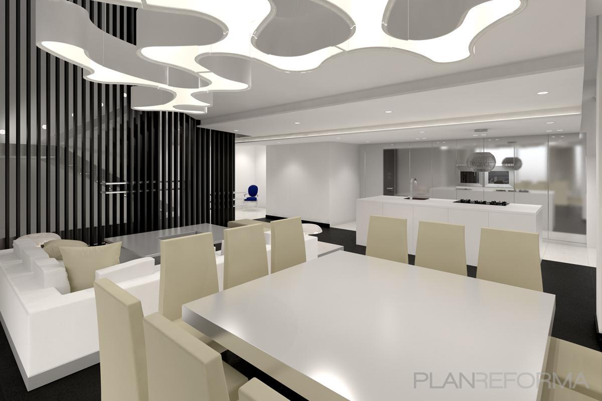 Comedor cocina salon style moderno color blanco gris negro for Comedor moderno blanco