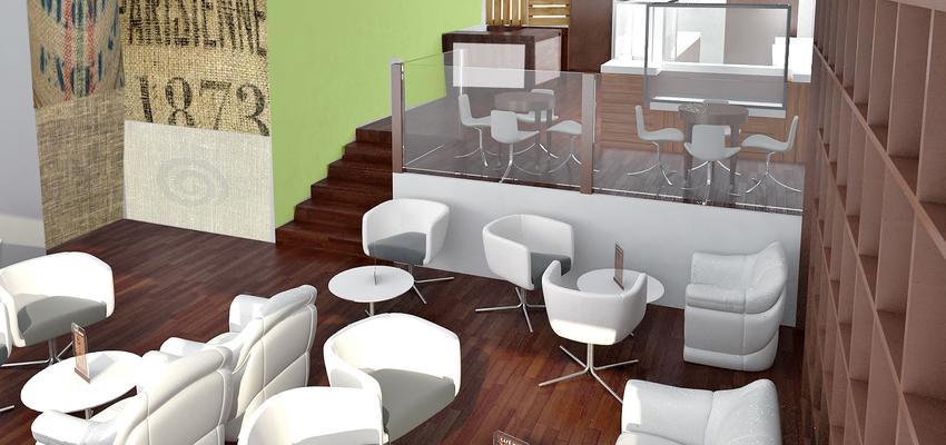 Cafeteria Estilo contemporaneo Color marron, marron, plateado  diseñado por AIMA Estudio - Ana L. Padilla | Arquitecto | Copyright AIMA ARQUITECTURA E INGENIERIA S.L.