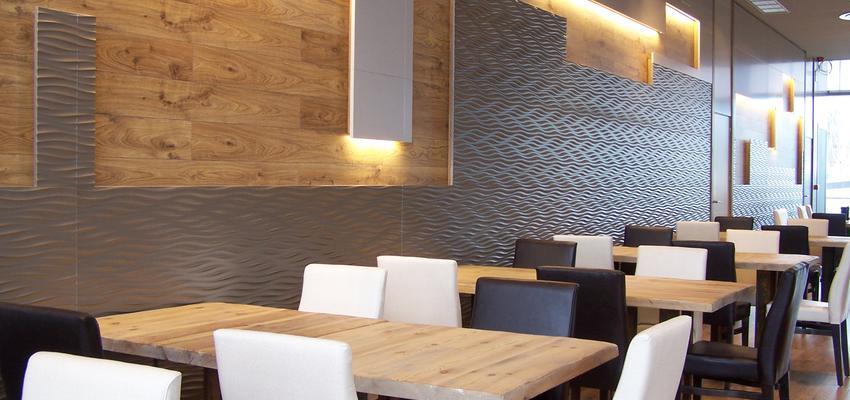 Restaurante, Cafeteria, Bar Estilo contemporaneo Color ocre, marron, blanco, gris  diseñado por AIMA Estudio - Ana L. Padilla | Arquitecto | Copyright AIMA ARQUITECTURA E INGENIERIA S.L.