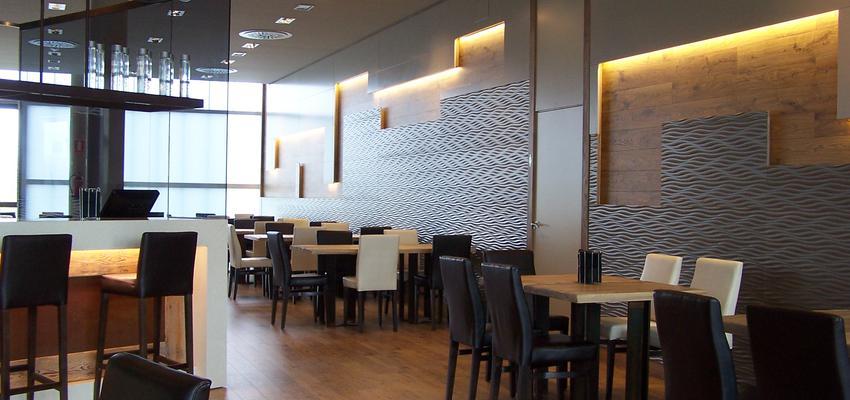 Restaurante, Cafeteria, Bar Estilo contemporaneo Color marron, blanco, gris, negro  diseñado por AIMA Estudio - Ana L. Padilla | Arquitecto | Copyright AIMA ARQUITECTURA E INGENIERIA S.L.