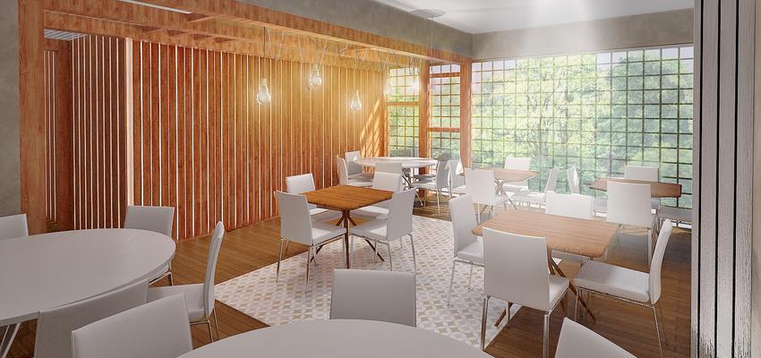 Restaurante Estilo contemporaneo Color marron, blanco  diseñado por AIMA Estudio - Ana L. Padilla | Arquitecto