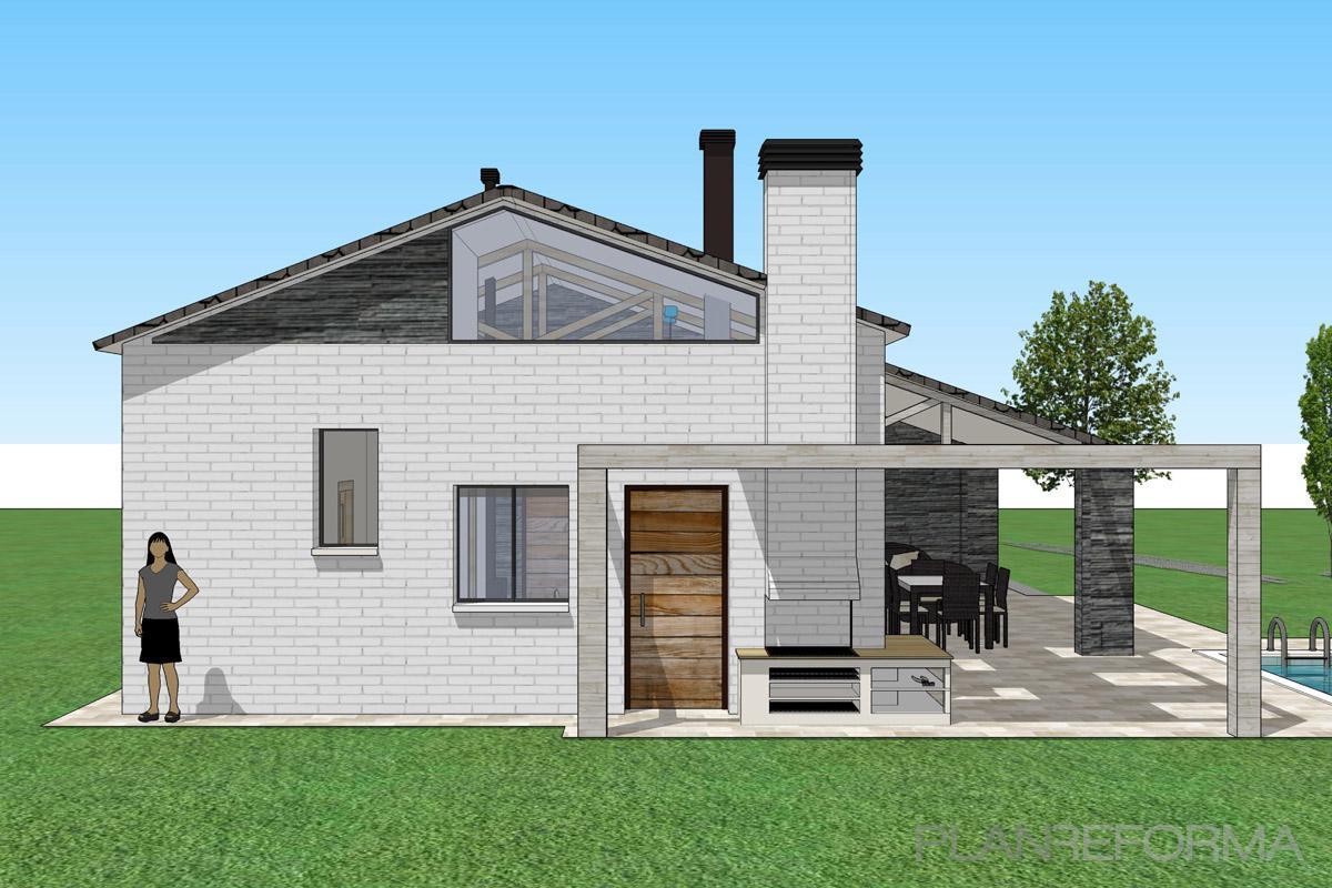 Porche exterior jardin estilo contemporaneo color blanco Estilo contemporaneo arquitectura