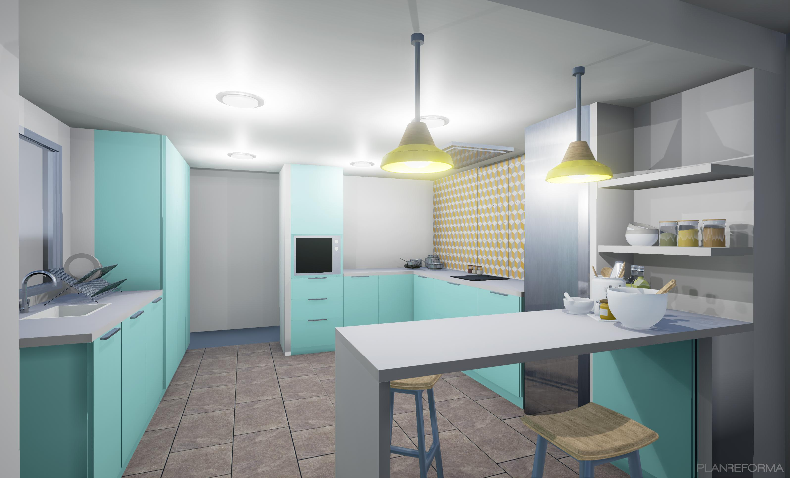 Cocina estilo contemporaneo color azul cielo beige dorado for Pintura para sanitarios