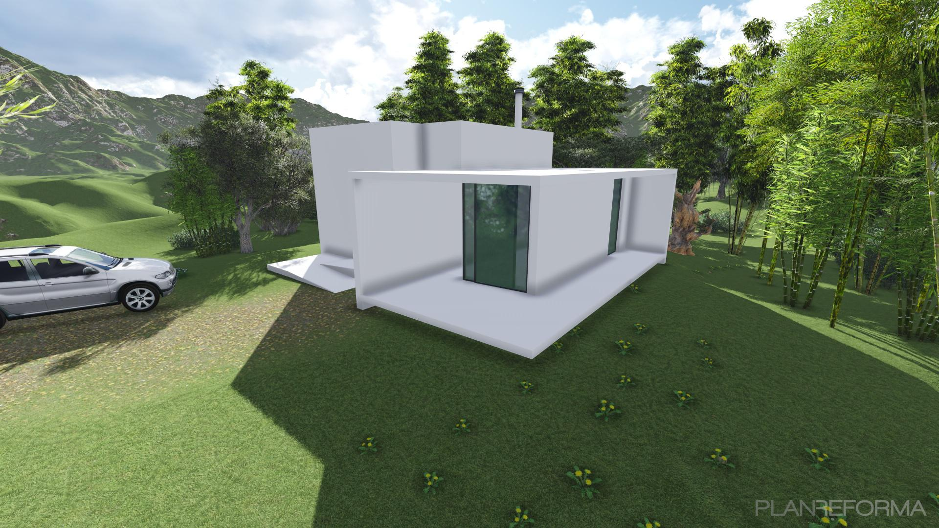 Porche jardin loft style moderno color verde azul cielo for Porche de jardin